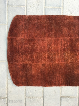 #8768 Tibet rug, red color three strips rug, tightly row knitting. good age and quality.size 90*58cm(35*23'')