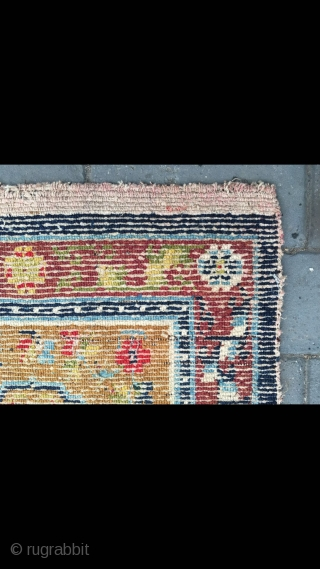 """#2089 Tibet rug, camel background with group flower pattern, around full of flowers veins. Good age and quality. Size 63*63cm(25*25"""")"""