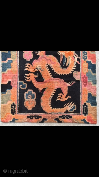 """Tibet rug, blue background with double dragon and lucky cloud pattern. Good age and condition. Size 88*162cm(34*63"""")"""