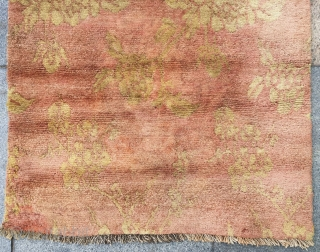"""Tibet rug, orange  background with golden peony flowers. Good age and condition. Size 80*145cm(31*57"""")"""