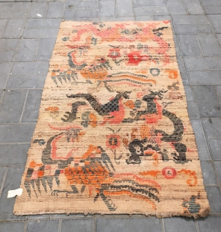 """Tibet rug, Double dragon and double phoenix with lucky  cloud pattern,  Good age and condition. Size  90*175cm (35*68"""")"""