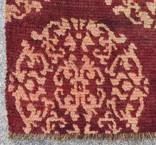 """Tibet rug, red background with group flowers pattern. Good age and condition. Size 70*133cm(27*52"""")"""