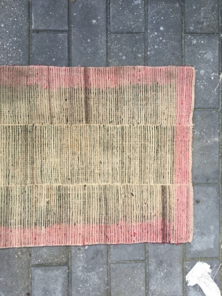 #1663 Tibet rug, green color three strips with red selvage. wool warp and weft, good age .size 160*72cm(62*28'')