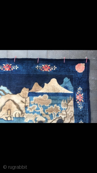 """Baotou carpet, very nice blue color with mountain water pattern, strong three-dimensional sense, it like a painting, very beautiful. Flowers selvage, very good age. Complete one no any repair. Size 250*170cm(98*66"""")"""