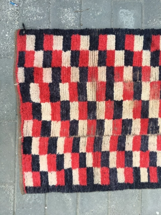 #1669 Tibet rug, black/white and red checker pattern, good age and quality.size 155*78cm(60*30'')