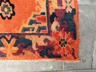 Tibetan square rug, beautiful orange with single group flower veins, around nature color flowers selvage. Good age and condition. Size 62*60cm