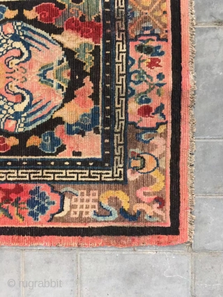 Tibet rug, group crane with lucky cloud pattern, around with Buddha eight treasure. Good age, size 90*90cm(35*35""