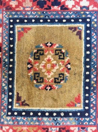 Tibetan rug, beautiful yellow background with group flower pattern, around with colorful flower selvage. Good age. No any repair. Wool warp and weft. Size 72*66cm