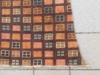 "Tibet yak saddle rug, colorful checker board veins, very rare nice one. Wool warp and weft. Size 90*115*h90cm(35*45*35"")"
