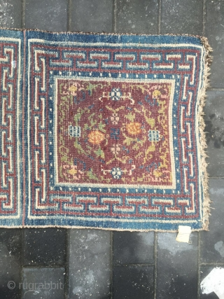 "#1777 Tibet rug, three joined rug, blue back ground with flower pattern, ""万'' and white point selvage. good age . size 185*63cm(72*25'')"