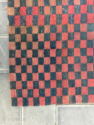 Tibetan rug fragment, red checker board veins, The checker board rugs g with very good age really can not obtain. it is not a complete one, The wool have a little worn,  ...
