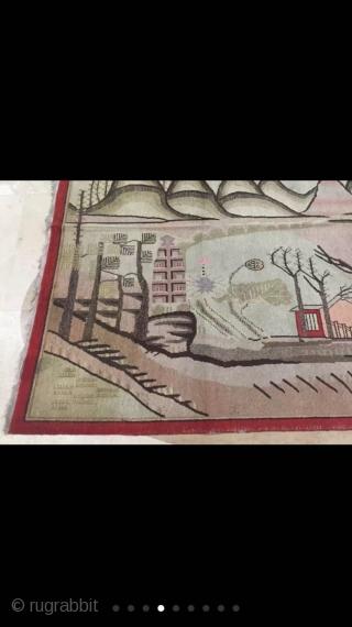 #1881 Xinjiang carpet, It was produeced in Khotan area in Xinjiang, beautiful mountain /water scenery pattern, good age ,complete one, size178*273cm(69*106'')