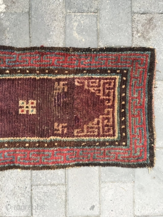 "#1882 Tibet runner rug, amaranth background with group flower and coiling tube veins, The ""丁"" shape Hui vein selvage, symbolize longevity, rich and good fortune.good age and quality. szie 175*54cm(68*21'')"