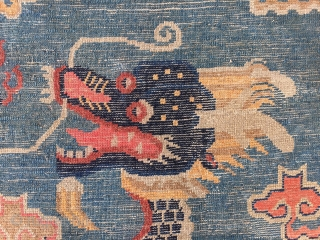 #1891 Beijing carpet, Pillar carpet with dragon was produced in Beijing in the 19th century. The background is blue, Five-claw dragon rises with lucky clouds and Buddhist treasures around, top with Buddhist  ...