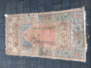 #1884 Xinjiang rug, It was produced in Khotan area in Xinjiang, a very nice Muslem pray rug, beautiful Muslem style flower veins, good age and quality.size 156*86cm(61*34'')
