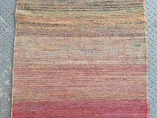 #1892 Beijing carpet, blue , yellow , black ,red , green etc. nice colorful strips veins, good age and quality. size 170*90cm(66*35'')