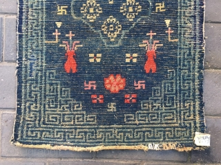 #1889 Tibet rug, blue background with colorful flower pattern, rhombic Hui veins selvage. goos age, size 86*58cm(34*23'')