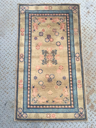 #1725 Chinese Suiyuan carpet. It was produced in Suiyuan area in the 19th century.light camel background with colorful flower veins, single medallion in the middle, good age and quality. size 133*73cm(52*28'')