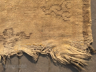 #1806 Ningxia rug, It was produced in early qing dynasty,flax warp and weft,lucky cloud veins, bronw selvage, size 160*84cm (62*33'')