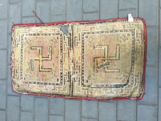 #1906 Ningxia rug, light camel two joined rug, 卍 is a pattern turning in clockwise, buddhahism think that clockwise directtion turning is luck.the vines on Ninxia rug formed veins rocade symbolizeing permanent  ...