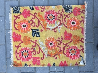 """#2020 Tibet rug, yellow background with colorful lotus flowers. Size 76*63cm ( 30*25"""")"""