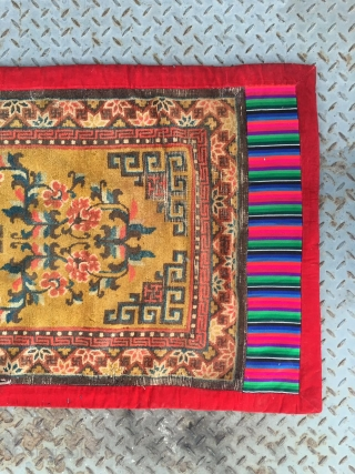 """#2007  Ningxia rug, yellow- camel background with single medallion and vase flowers veins, flowers selvage. Red old cloth packing  selvage. Good age and quality. Size 132*66cm(51*26"""")"""