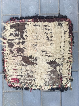"""#2015 Tibet rug. Tibet lama cushion, the back is Wangden knitting, and the front is won web with old wool cloth. Very rare. Good age and quality. Size 50*50cm(20*20"""")"""