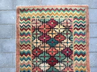 #1695 Beijing carpet, nice colorful square cehcker flower with wave shape veins, good age and quality.size156*76cm(61*30'')