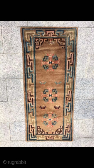 """Tibetan rug, brown background with group flower veins. Good age and condition. Size 152*67cm( 59*26"""")"""