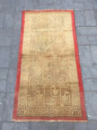"Tibet rug, yellow background with full of lotus pattern. More than 150 years old. Wool warp and weft, no any repair. Size 80*152cm(31*59"")"