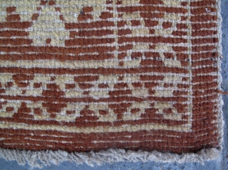9572# Tibet rug, camel brown background woth pink group flower pattern. good condition. size 85x60cm(33x23'')