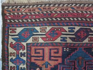A beautiful Gheydar Shahsavan Mafrash panel Soumac wool on wool age:120 years, size:46 x 94 it was repair Price:SOLD