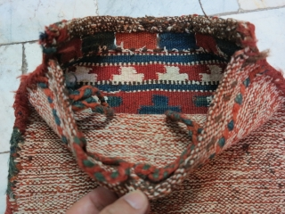 Saveh Shahsavan Toubreh ( Bag ) technique Kilim wool and cotton .