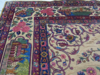 A very old fragment souf of Kashan silk with great design size: 203 x 136 cm 