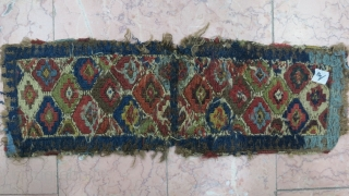 Very old Shahsavan Toubreh ( bag ) morvarid shirakipich technique and double face wool on wool natural color size: 32 x 21 cm price: POR