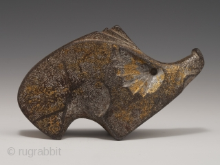 """Boar okimono, Japan. Cast iron, remnants of gilding or gold paint. Mid 20th century, 3"""" (7.6 cm) high by 5"""" (12.7 cm) wide.  Last year, a small group of cast iron animals was found in a burlap  ..."""
