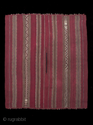 """Ponchito (small poncho), Aymara culture, Bolivar region, Bolivia. Camelid yarns, natural dyes, Mid 19th century, 1825-1875, 45"""" (114 cm) high by 39"""" (99 cm) wide. Warp-faced alpaca plain weave with stripes of complementary warp weave. Excellent condition."""