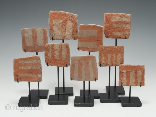 """Group of Nine Ceramic Votive Plates from the vicinity of Araquipa, Southern Andes, Peru. Ceramic, natural pigment, Circa 14th century. 2.75"""" (7 cm) by 2.5"""" (6 cm) largest, about 8"""" by 10""""  ..."""