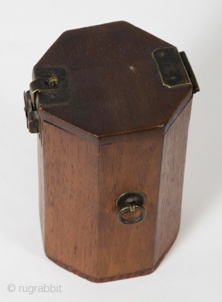 "A small, unique octagonal box from Korea. 4.75"" (12 cm) high by 3"" (7.5 cm) wide. It opens by sliding the latch to the left, which releases the small hook. Brass hardware,  ..."