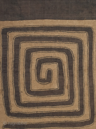 """Dance skirt panel, Kuba, D.R.Congo, Raffia, Mid-20th century, 29"""" (74 cm) wide by 27.5"""" (69.8 cm) high by 1.25"""" (3 cm) deep, professionally mounted on wood frame."""