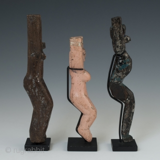 """Three slingshots, Guatemala Highlands. Early to mid-20th century. 6.75"""" (17.1 cm), 5.5"""" (14 cm) and 6.5"""" (16.5 cm) high. Ex. private collection, New York.   These slingshots are from a dozen that were  ..."""