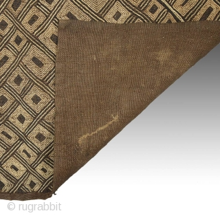 "Flat stitch raffia panel, Shoowa, a northern group of the Kuba, D.R. Congo. 27"" (68.5 cm) by 26"" (66 cm). Mid-20th century."