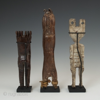 "Three slingshots, Maya, North and South Highlands, Guatemala, Early to mid-20th century, 5.5"" (14 cm), 7"" (17.8 cm) and 6.5"" (16.5 cm) high. Ex. private collection, New York 	