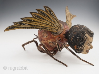 """Alebrije, Mexico City. Paper mache over wire armature, paint, Early to mid 20th century, 9"""" (23 cm) high by 15"""" (38 cm) long by 16"""" (40.5 cm) wide, Ex. Fred and Nancy Roscoe collection, California.   This haunting  ..."""