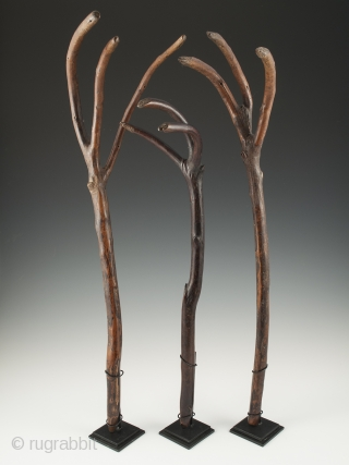 "These wonderful wood rakes from Bhutan see to have a life of their own. 18"" (45.7 cm) to 21"" (53.4) high, early to mid 20th century. The rake on the far right  ..."