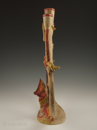 "Candelabra by Aurelio Flores, Izucar de Matamoros, Mexico. Low fired cold painted ceramic, aniline dyes, Circa 1950s. 15.5"" (39.3 cm) high by 11"" (28 cm) wide Ex. Fred and Nancy Roscoe collection,  ..."