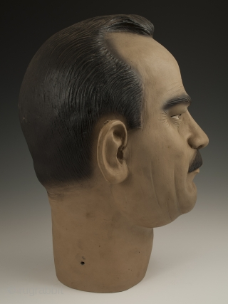 """Bust of Carlos Fuentes Macías (1928-2012), Mexico. Low fired slip painted ceramic Circa 1950s. 14"""" (39.4 cm) high by 9"""" (20.2 cm) wide, Ex. Fred and Nancy Roscoe collection, California.   This portrait bust  ..."""