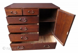 Antique Japanese Ko Tansu (Personal Storage Chest)  An antique Japanese Ko Tansu known as a personal storage chest made of Kiri (Paulownia) wood. Traditional wiped lacquer finish and original bronze fittings complement this  ...