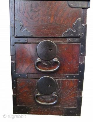 Antique Japanese Mikuni Gyosho Bako (Peddler's Box)   An antique Japanese Mikuni Gyosho Bako (Peddler's Box) that originates from the Chūbu region of Japan. Made of Keyaki (Zelkova), Hinoki (Cypress), and Kiri (Paulownia) woods.  ...