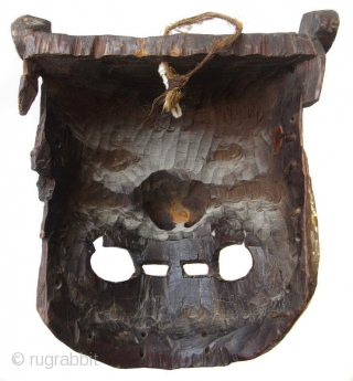 """Antique Tibetan Carved Wooden Mask  Antique Tibetan hand-carved wooden deity mask,  Mahakala, a very fierce and powerful being and counterpart to Kali / Mahakali. His name means """"Greater than Time"""" as he  ..."""